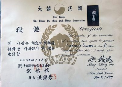 Grandmaster Stan Swope's 2nd Dan Black Belt Certificate