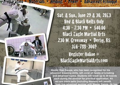 Flyer promoting Grandmaster Stan Swope's black belt breaking seminar 2013