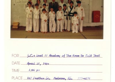 JC's Academy of Taekwondo Belt Test 1984
