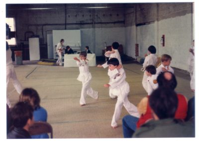 Grandmaster Stan Swope's students during belt test circa 1983