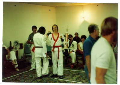 As a red belt, Grandmaster Stan Swope takes 1st place circa 1983