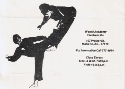 Flyer for Grandmaster Stan Swope's dojang in Mulvane, Kansas