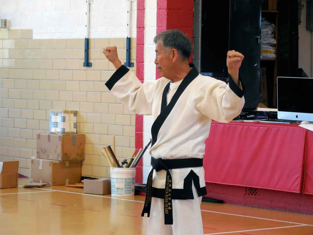 Supreme Master Kim Bok-Man emphasized natural techniques and stances, such as the guarding block, at Supreme Master Kim Bok-Man's seminar in Kansas in September 2013.