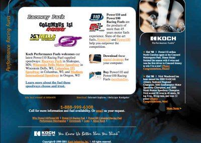 Koch Performance Racing Fuels Web Site Screenshot Home