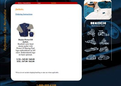 Koch Performance Racing Fuels Web Site Screenshot Merchandise