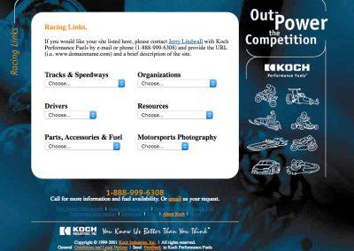 Koch Performance Racing Fuels Web Site Screenshot Downloads Links