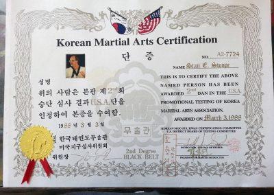 Grandmaster Stan Swope's 2nd Dan from Moo Sul Kwan