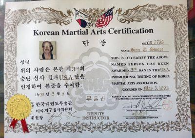 Grandmaster Stan Swope's 3rd Dan certificate from Moo Sul Kwan