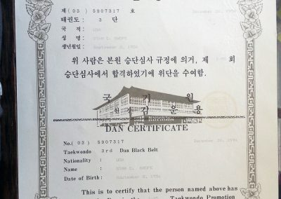 Grandmaster Stan Swope's 3rd Dan Kukkiwon Certificate, signed by Un Yong Kim