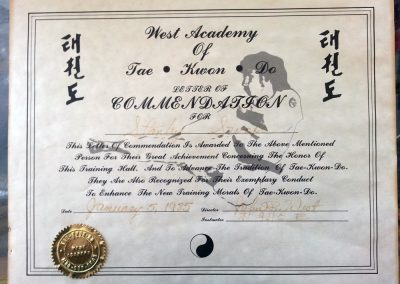 Grandmaster Stan Swope's Commendation from his Instructor, John R. West