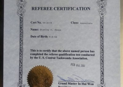 Grandmaster Stan Swope's referee certification 2000
