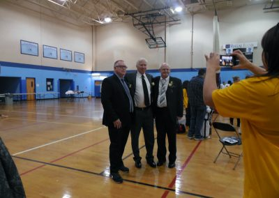 Grandmaster Stan Swope and Master Mike Swope pose with Leon Rogers of Century Martial Arts Supply