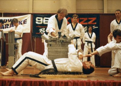 Grandmaster Stan Swope on bed of nails at Big Boys Toy Show circa 1992