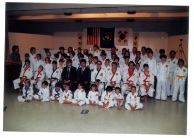 Grandmaster Stan Swope poses with Grandmaster Ye Mo Ahn of the U.S. Moo Duk Kwan