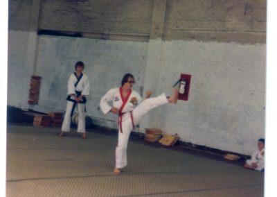 Grandmaster Stan Swope testing for black belt in Moo Duk Kwan Taekwondo circa 1983