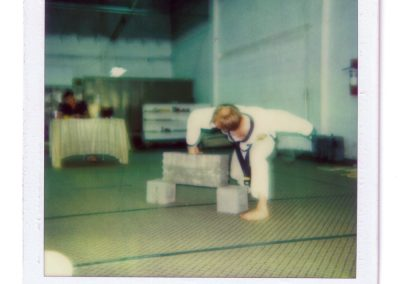 Grandmaster Stan Swope punches concrete circa 1983