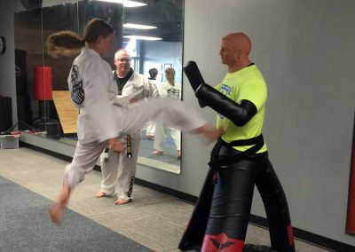 Peyton Cooper practices jumping front snap kick